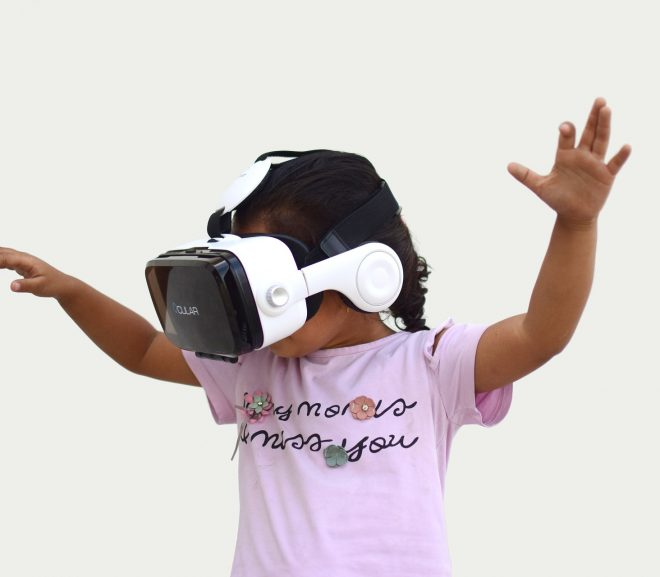 A girl wearing a VR headset