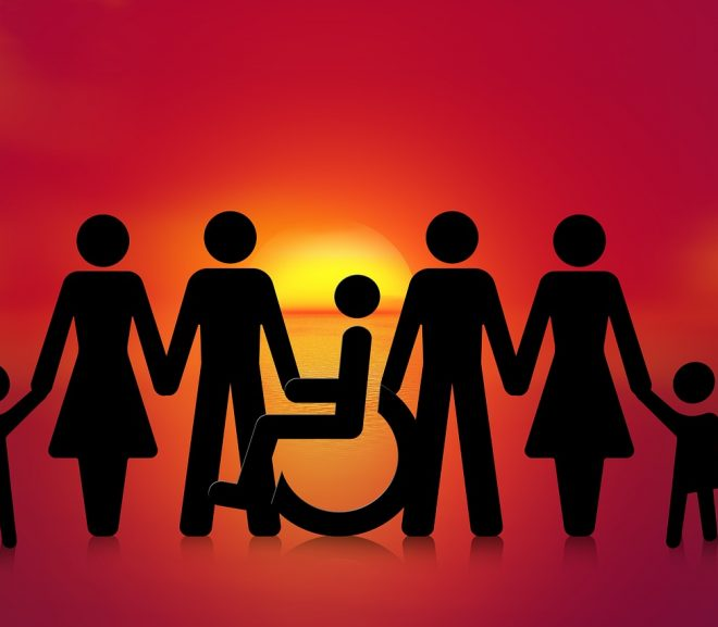 Image showing disable person among others