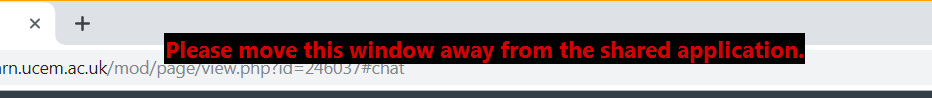 Please move this window away from the shared application error message