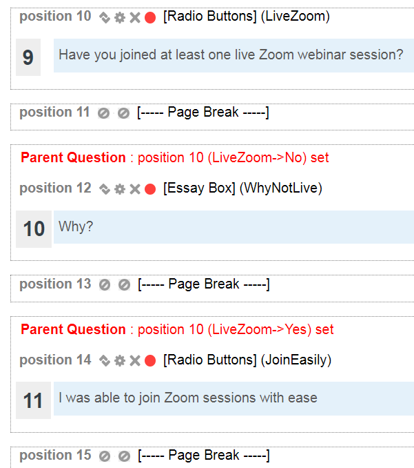 Image shows page breaks included for each branching question