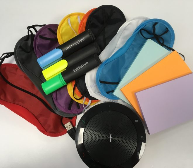 Image of workshop items post it notes, colour pens, speaker and eye masks