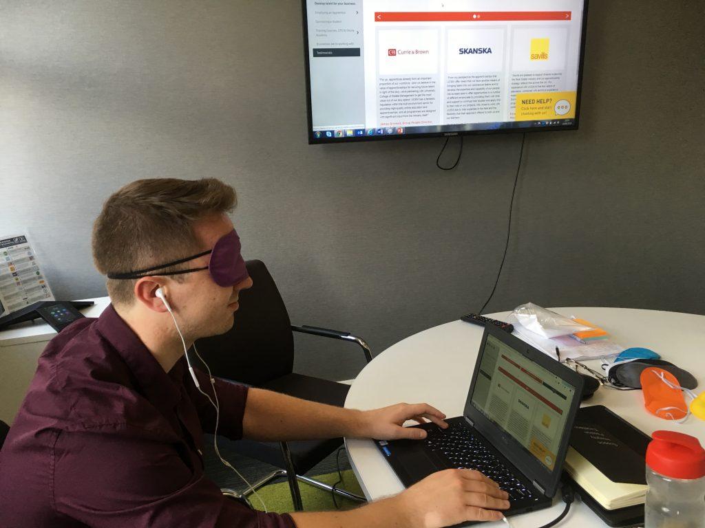 Accessibility workshop participant navigating website using ChromeVox screen reader