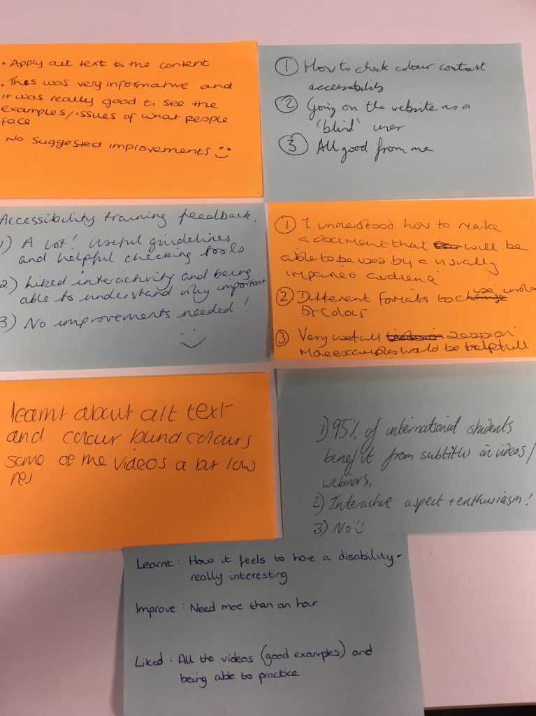 Image of postit notes with hand written comments as feedback