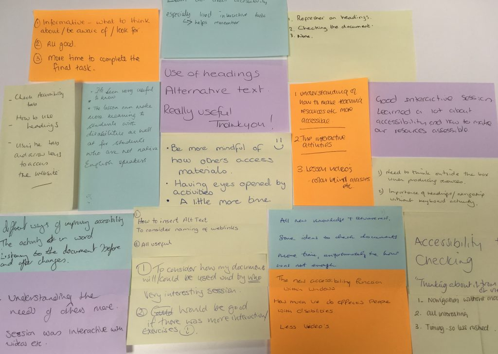 Display board of Sticky Notes with participants' feedback about the accessibility session