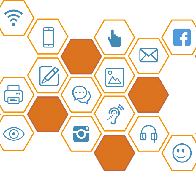 various accessibility related icons in a bee hive arrangement