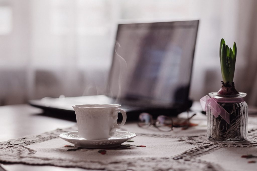 Cup of tea and laptop