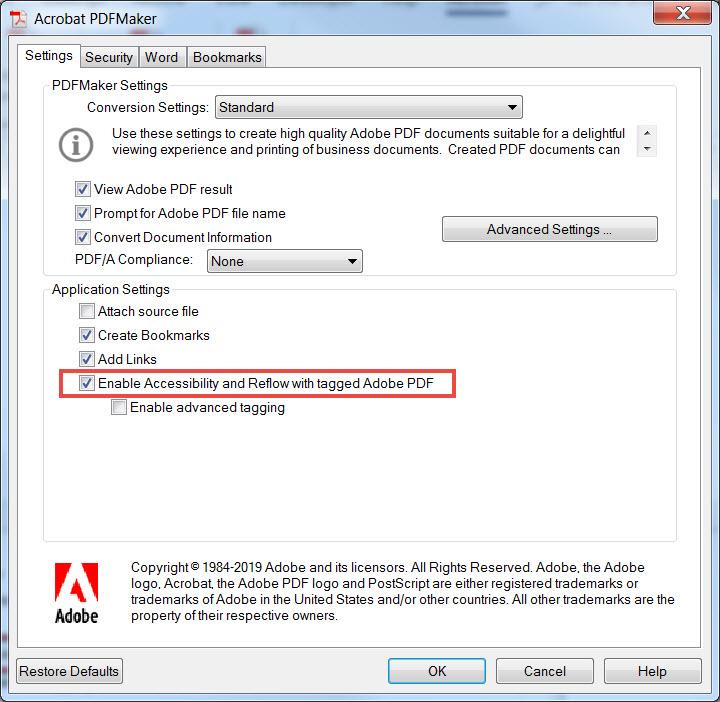 Acrobat PDFMaker Preferences diaglog