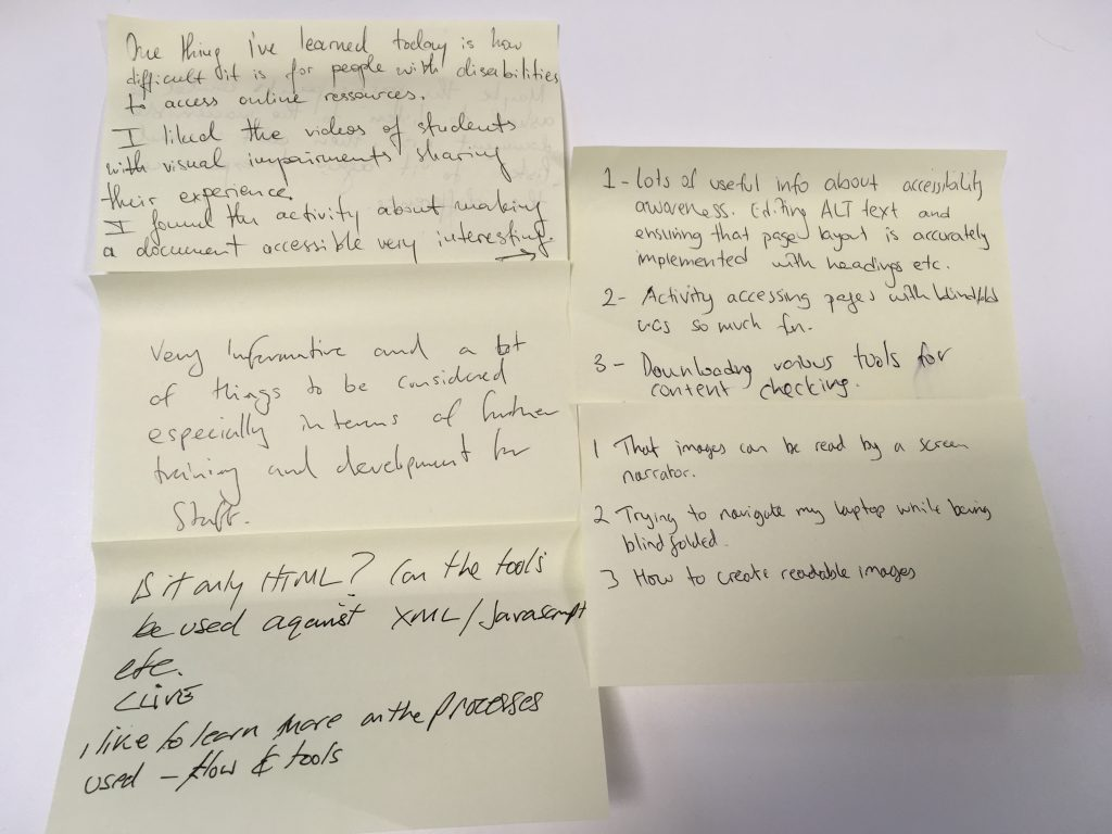 Post-it notes with feedback