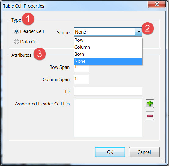 Table Cell Properties Dialog