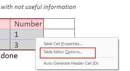 Table Editor Options