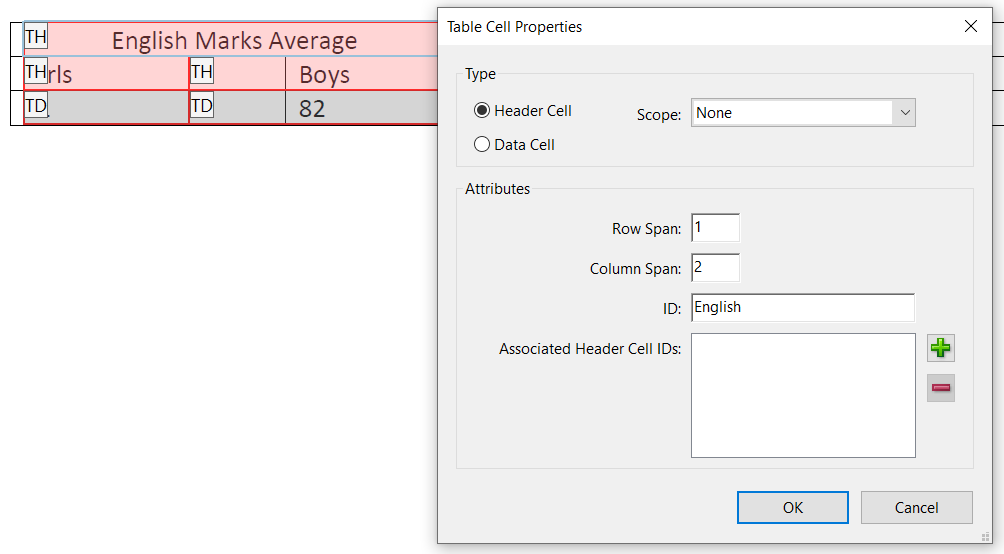 Table Cell Properties options selected for header cell English Marks Average