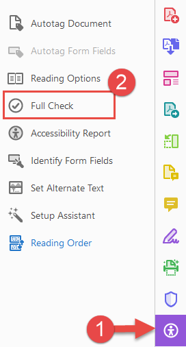 Accessibility pane Full Check option