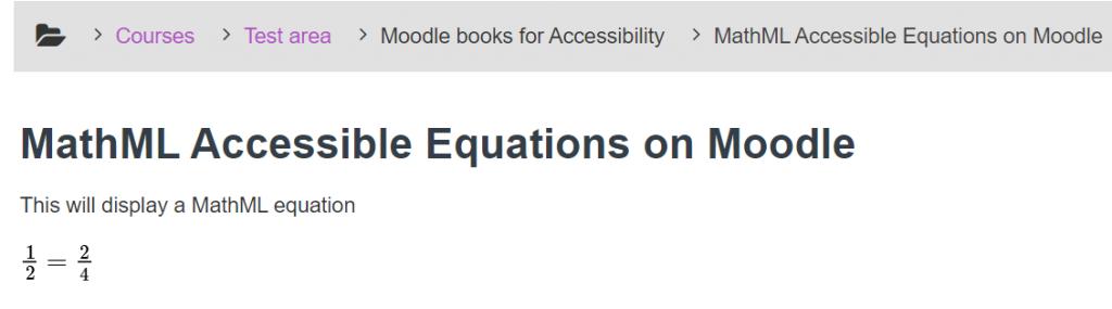 Correctly Displayed MathML Equation