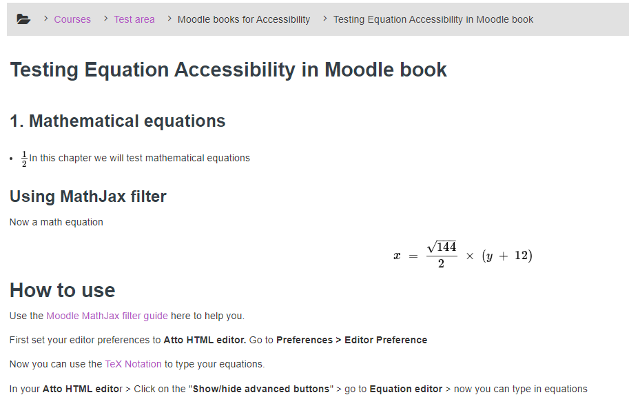 A screenshot of a Moodle page with equations