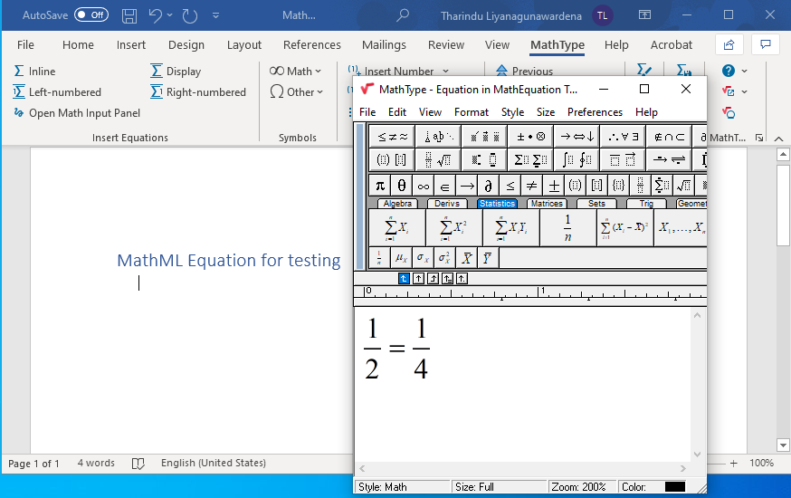 screenshot of inserting equation with MathType on Microsoft Word