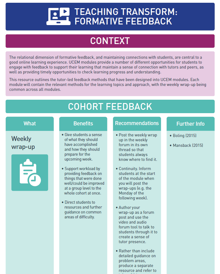 Screenshot of formative feedback infographic