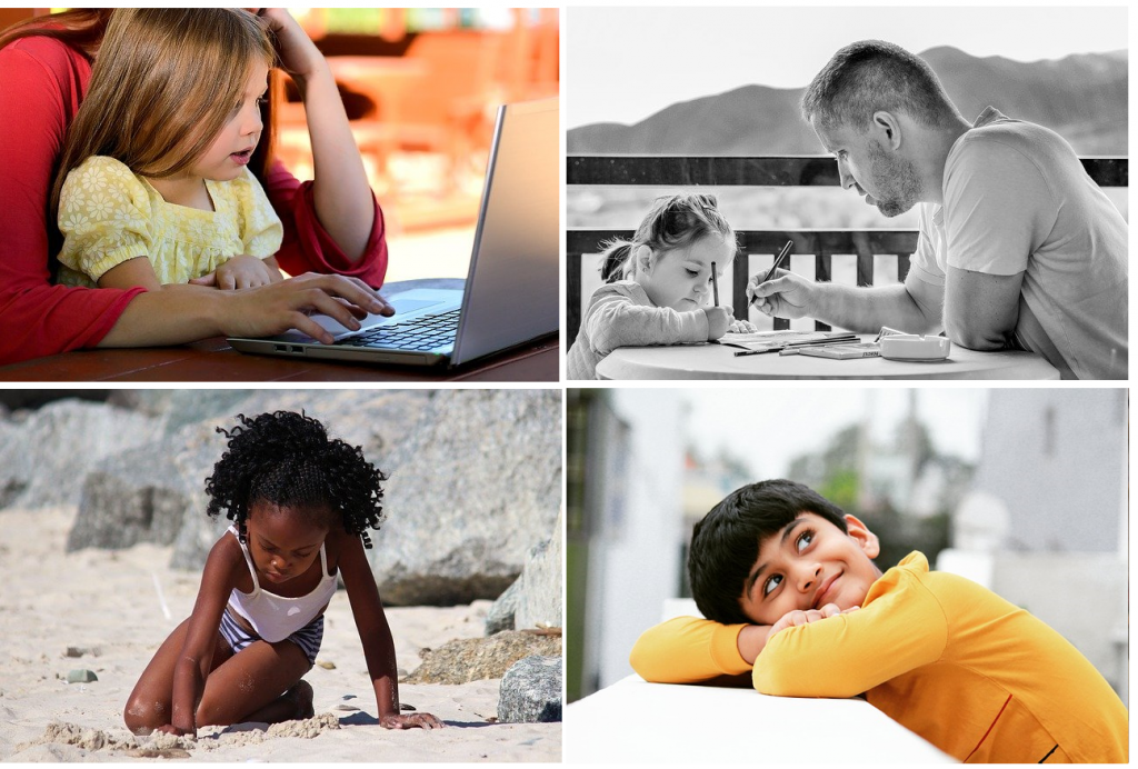Collage of children learning with adults and alone