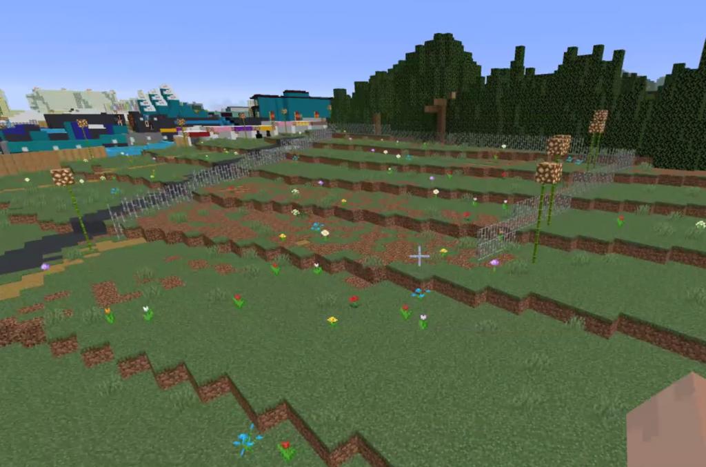Boomtown festival in Minecraft