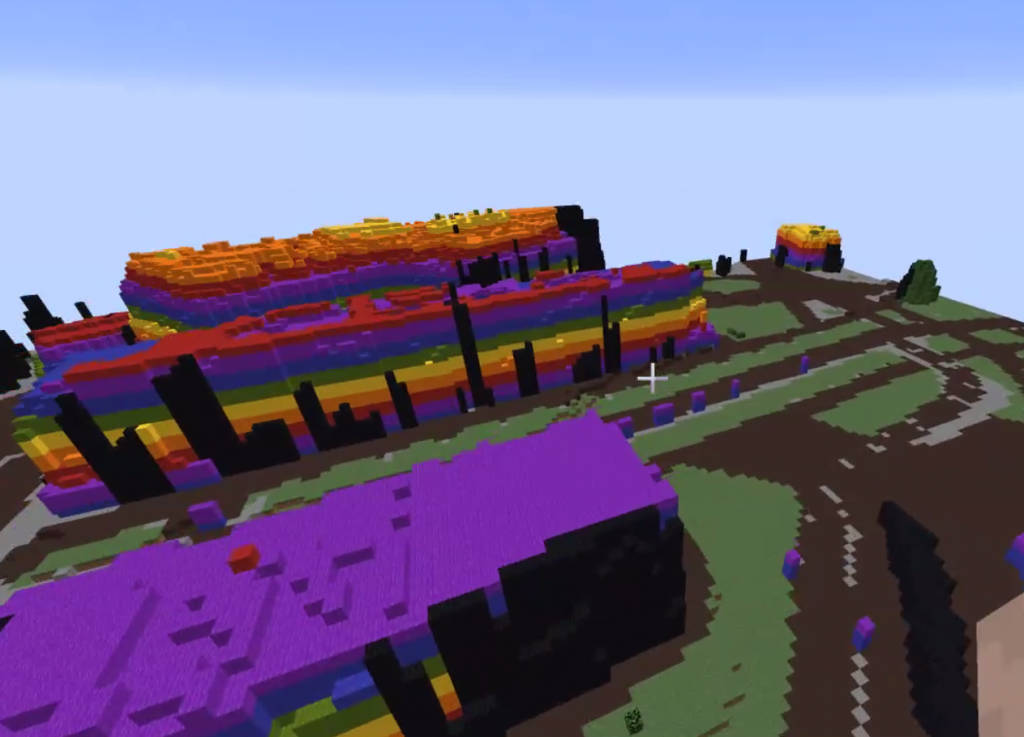 A quick rainbow building built during the meeting
